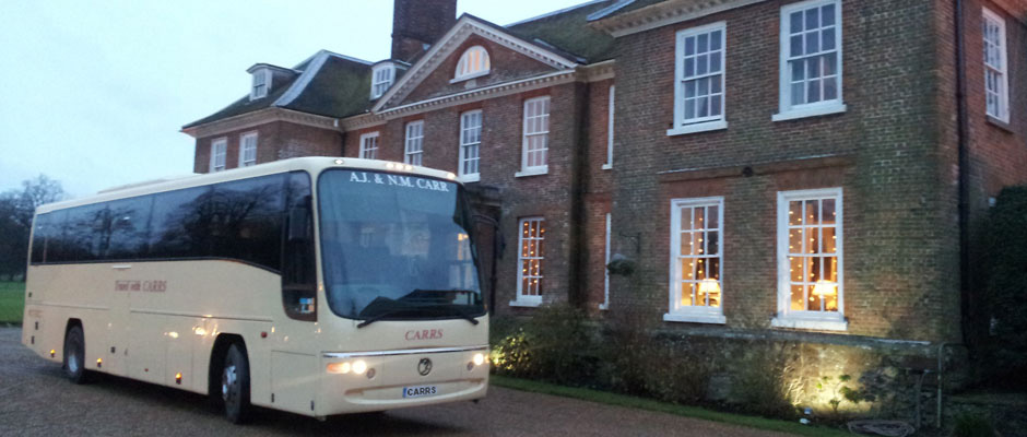 Carrs coach local hire - wedding guests driven to Chilston Park